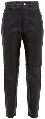 RE/DONE Cropped Leather Cigarette Trousers - Womens - Black