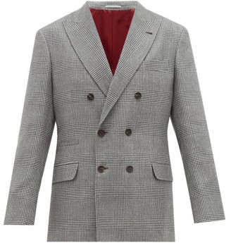 Brunello Cucinelli Prince Of Wales-check Double-breasted Blazer - Mens - Grey