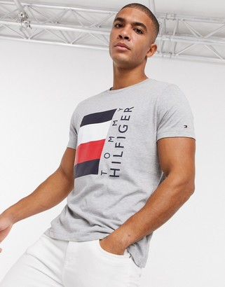 Tommy Hilfiger corp stripe box logo t-shirt in gray marl