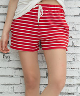 Z Avenue Women's Casual Shorts Red - Red & White Pocket French Terry Shorts - Women & Plus