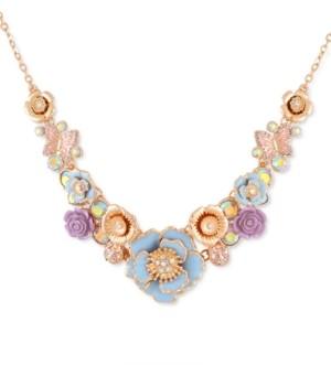 "GUESS Gold-Tone Flower Garden Statement Necklace, 16"" + 2"" extender"