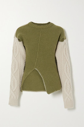 ANDERSSON BELL Mollyna Cutout Two-tone Cable-knit Wool Sweater - Ivory