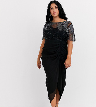 Virgos Lounge Plus ruched side detail with sheer overlay midi dress in black