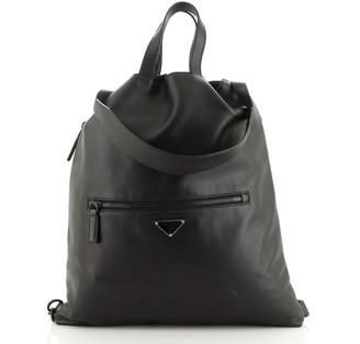 Prada Drawstring Backpack Soft Calfskin