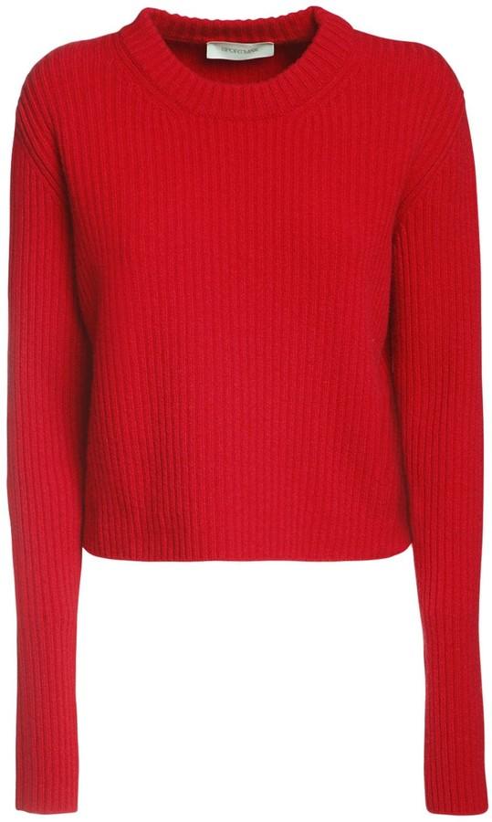 Sportmax Rib Knit Crop Wool Blend Sweater