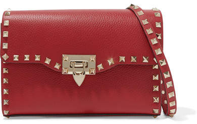 Valentino Garavani The Rockstud Textured-leather Shoulder Bag