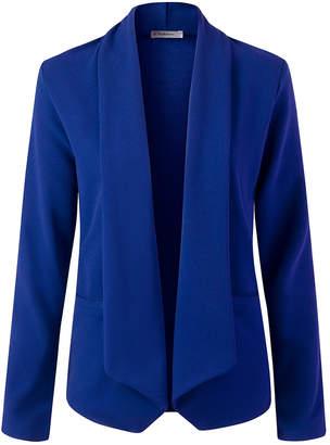 Doublju Women's Non-Denim Casual Jackets ROYAL - Royal Open-Front Knit Blazer - Women