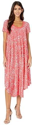 Fuzzi T-Shirt Knee Length Poppy Print Dress (Caramella) Women's Dress