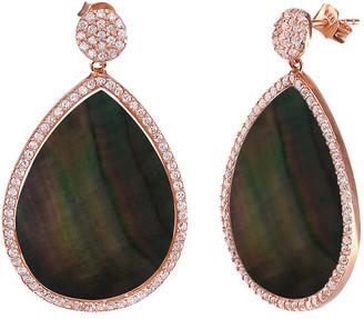 GABIRIELLE JEWELRY Rose Gold Over Silver Pearl & Cz Earrings