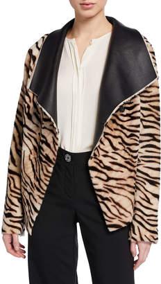 Nour Hammour Safari Tiger-Striped Reversible Leather Cardigan