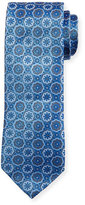Eton Flower Medallion Neat Tie, Blue