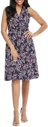 London Times Spring Buds Tie Waist Dress