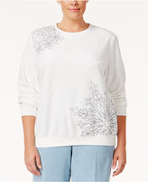 Alfred Dunner Plus Size Northern Lights Collection Embroidered Sweater