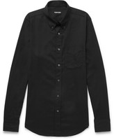 Tom Ford Slim-fit Button-down Collar Cotton-blend Twill Shirt - Black