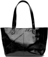 Holly & Tanager Commuter Tote Bag In Black Patent Leather