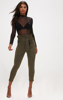 PrettyLittleThing Gold Metallic Paperbag Waist Skinny Trousers