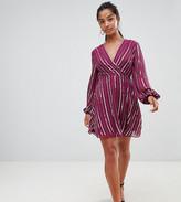 Asos DESIGN Petite sequin wrap dress with 70's sleeve