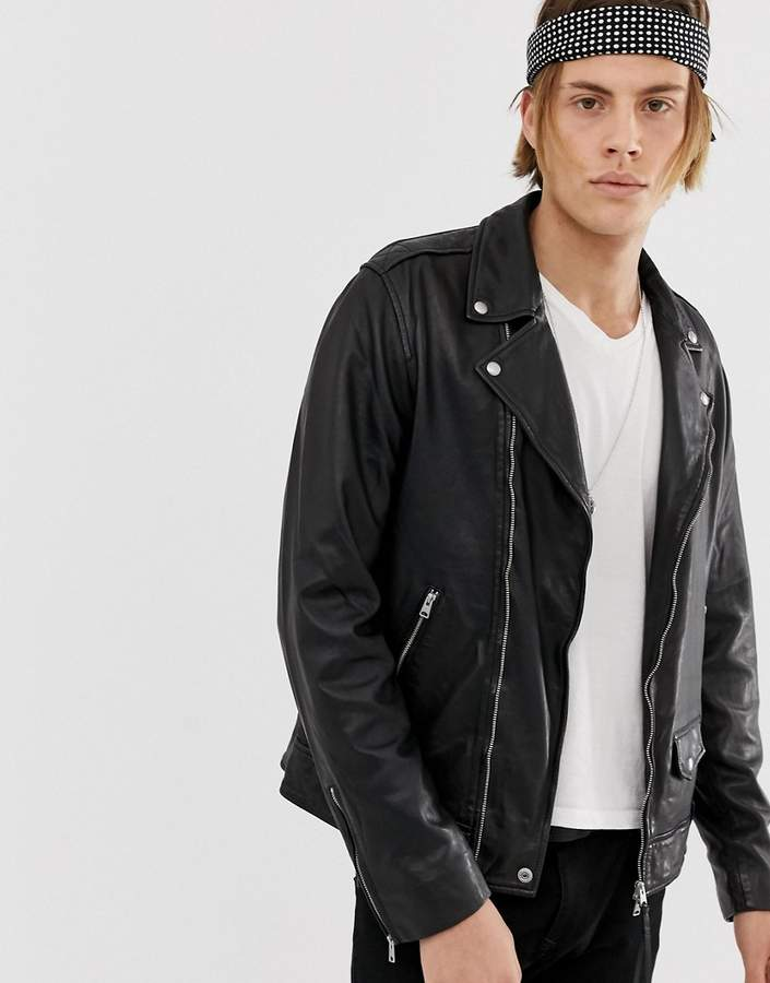 dc9dae7bf leather biker jacket in black