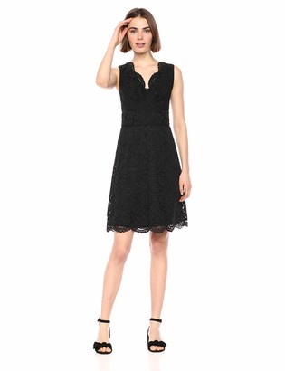 Lark & Ro Women's Sleeveless V-Neck Lace Crossover Detail Dress
