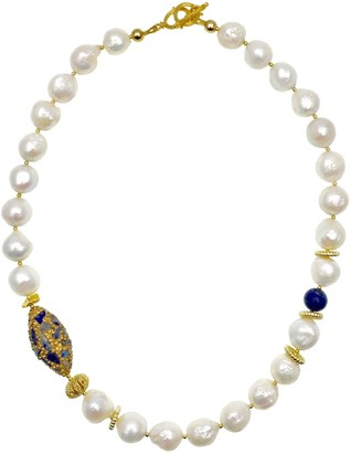 Farra Freshwater Pearls With Rhinestones Bordered Lapis Choker
