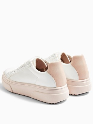 Topshop Canada Lace Up Trainers - Blush