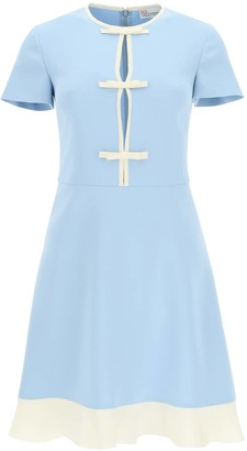 RED Valentino MINI DRESS WITH BOWS 38 Light blue, Beige