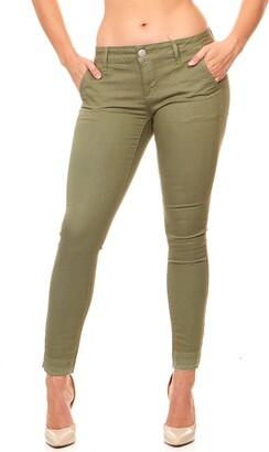V.I.P. JEANS Women's Cute Slant Pocket Skinny Pant Trousers Work Casual Plus