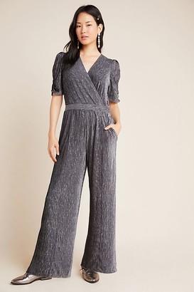 Greylin Charlize Textured-Velvet Jumpsuit