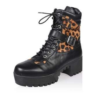 AIIT Women's Chunky Mid Heel Calf Boot Shoe Leopard Size9