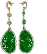 INBAR Carved Green Jade Earrings