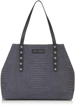 Jimmy Choo PIMLICO/S Slate Crocodile Printed Nubuck Leather Small Tote Bag with Star Trim