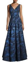 Aidan Mattox Sleeveless Pleated Metallic Brocade Gown, Navy/Multicolor