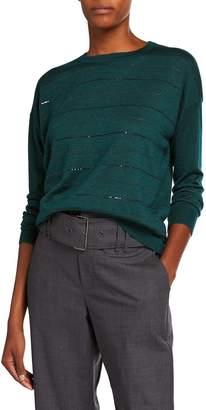 Brunello Cucinelli Cashmere-Silk Monili-Stripe Sweater