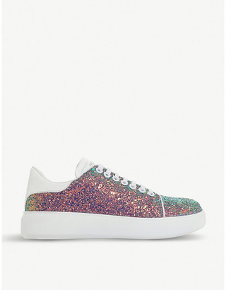 Dune Entity glitter and leather trainers