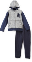 English Laundry Navy & Gray Lion Zip-Up Hoodie & Joggers - Toddler & Boys