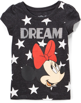 Freeze Minnie Mouse Black Heather 'Dream' Puff-Sleeve Tee - Toddler