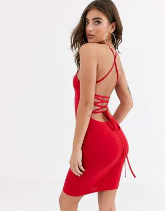 Asos Design DESIGN going out strappy back mini dress-Red