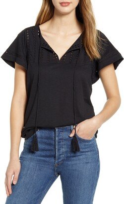 Caslon Embroidered Eyelet Knit Top