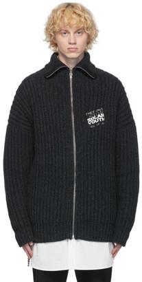 Raf Simons Grey Patch Zip-Up Cardigan