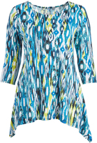 Glam Green & White Abstract Sidetail Tunic - Plus