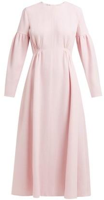 Emilia Wickstead Cecil Shirred Wool-crepe Midi Dress - Womens - Light Pink