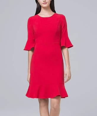 White House Black Market Women's Casual Dresses Roman - Roman Red Three-Quarter Flare Sleeve A-Line Dress - Women