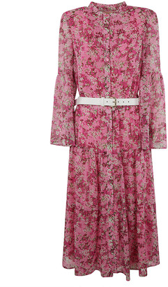 Michael Kors Belted Waist Floral Print Dress