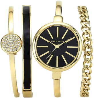 Anne Klein Women's Goldtone Bangle Watch and Bracelet Set