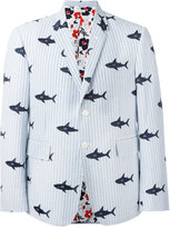 Thom Browne embroidered shark blazer - men - Cotton - 2