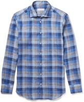 Etro - Mercurino Slim-fit Checked Linen Shirt