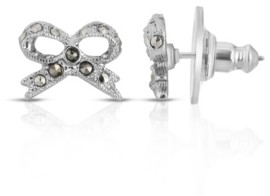 2028 Silver-Tone Marcasite Bow Stud Earrings