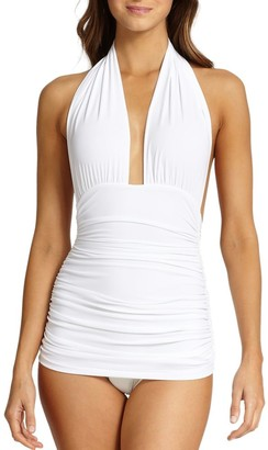 Norma Kamali Halter Bill One-Piece Swimsuit
