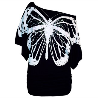 Pure Fashion Womens Celeb Sequin Butterfly Print Off Shoulder Batwing Side Ruched Top/Color: Wine/Size: 16-18