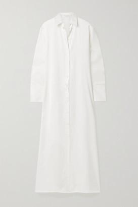 Deveaux Nye Satin Maxi Shirt Dress - White